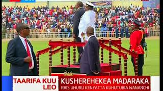 How President Kenyatta arrived at Kinoru Stadium for #MadarakaDay2018