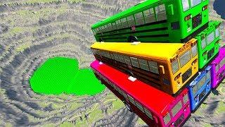 BeamNG drive - School Bus Jumps & Falls Into Green Slime Pool