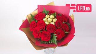 Video Buchet GOLD cu trandafiri si Ferrero Rocher