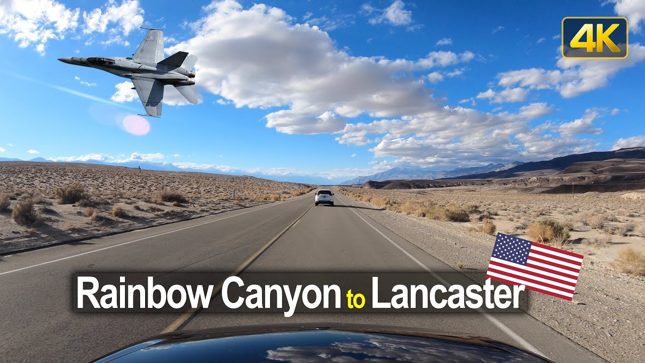 Drive Rainbow Canyon to Lancaster with Jet Fighter encounter – Scenic Drive USA!