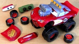 Hello cars fans, this is the gear up and go lightning mcqueen monster truck with big wheels from Disney Pixar Cars 2 and Mattel. Comes with 15 parts to mix and match. Hours of fun. Up to 48 combinations. Monster truck McQueen, triple hood scoop McQueen, foglights McQueen, Radiator Springs Mcqueen, Tongue McQueen, nightvision, turbo monster truck, foglights monster truck and many others.   Click to watch the new cars2 gear up n go mcqueen. http://www.youtube.com/watch?v=sYLLxOE5GoM  Music by Kevin MacLeod  Thanks for watching ToyCollector Blucollection. I'm an avid DisneyToyCollector collecting everything about Disneytoys and soon to be released PixarCars3. This is a Brazilian ToyChannel dedicated to review juegos juguetes giocattoli y brinquedos de carrinhos. Please subscribe!  Great News! John Lasseter, the director of Cars has announced Pixar is working on a Cars3 film about town of Radiator Springs. No worries, i'll review all the future toys diecasts and playsets.  Play-Doh Transformers Autobot Workshop Playset by BluToys. https://www.youtube.com/watch?v=wZINpnFAiUA  Popin' Cookin' GUMMY BEARS おえかきグミランド Gummi-Land. https://www.youtube.com/watch?v=TG-qYSt4XiI  10-Cars Race Launcher World Grand Prix Speedway. https://www.youtube.com/watch?v=SHiq1-PP7c0  Monster Screaming Banshee Eating Cars Snot Rod Tunerz. https://www.youtube.com/watch?v=wWnWQcfAi1M  Monster-Truck Gear Up n go Lightning McQueen https://www.youtube.com/watch?v=oQiGfOjFpls  3PixarCars Funny Talkers Snot rod, Mcqueen & Mater. https://www.youtube.com/watch?v=DSf05hcY0BI  Pocoyo Swiggle Traks Motorized Juguete de Coches. https://www.youtube.com/watch?v=zV7xT77EX50  Pocoyo Circuit Race Track - Supercircuito Pista de Corridas. https://www.youtube.com/watch?v=bc8rjYUx-rs  4 Pocoyo Bath Toys Fun Traceables Loula Elly Elephant. https://www.youtube.com/watch?v=moZZChfsB6c  Pocoyo School Blocks Building Toys Similar to Lego Bloks. https://www.youtube.com/watch?v=ZsuMonsSTmY  Play Doh Pocoyo Superman Man of S