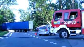 preview picture of video 'Wypadek DK 50 Koło  Regut  Mlekowita w rowie.'