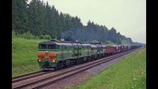 Тепловоз 2ТЭ10МК-3351 с грузовым поездом на Могилёв.
