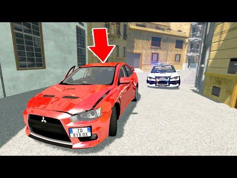 Narrow Street Crazy Police Chase - BeamNG Drive   CrashTherapy