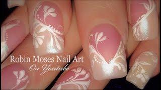 White Chrome With Flower Chevron French Nails | Elegant Wedding Nail Art Design Tutorial