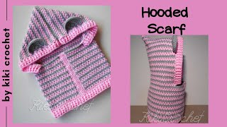 How To Crochet A Hooded Scarf With Ears + Chart For All Sizes