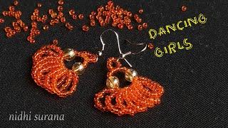 💃💃 Dancing Girls, Beaded Earrings    DIY Seed Bead Earrings (0205)