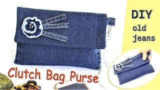 DIY Denim Clutch Bag Purse Out Of Old Jeans - How To Make No Sew Jeans Purse - Old Jeans Crafts