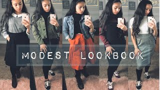 FALL/WINTER MODEST LOOKBOOK | How To Style Tights With Skirts