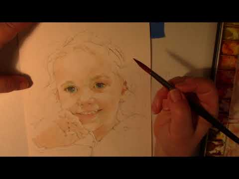 Watercolor Speed Painting of a Young Child