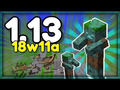 NOVÝ VODNÍ ZOMBIE, VRAKY LODÍ NA DNĚ v Minecraftu 1.13! (18w11a)