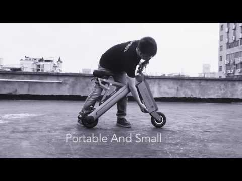 Electric bike folds up in three seconds