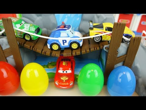 Car toys surprise eggs and Poli cars road play