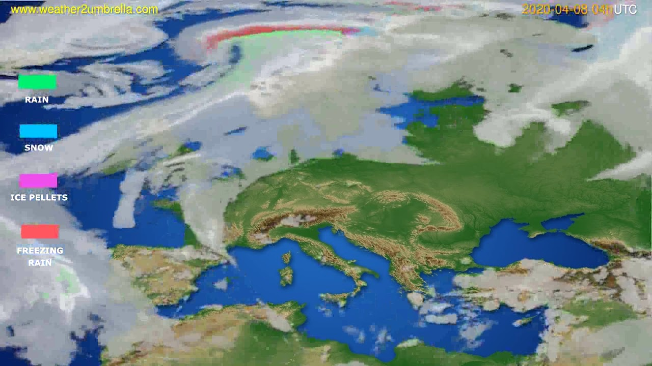 Precipitation forecast Europe // modelrun: 12h UTC 2020-04-07
