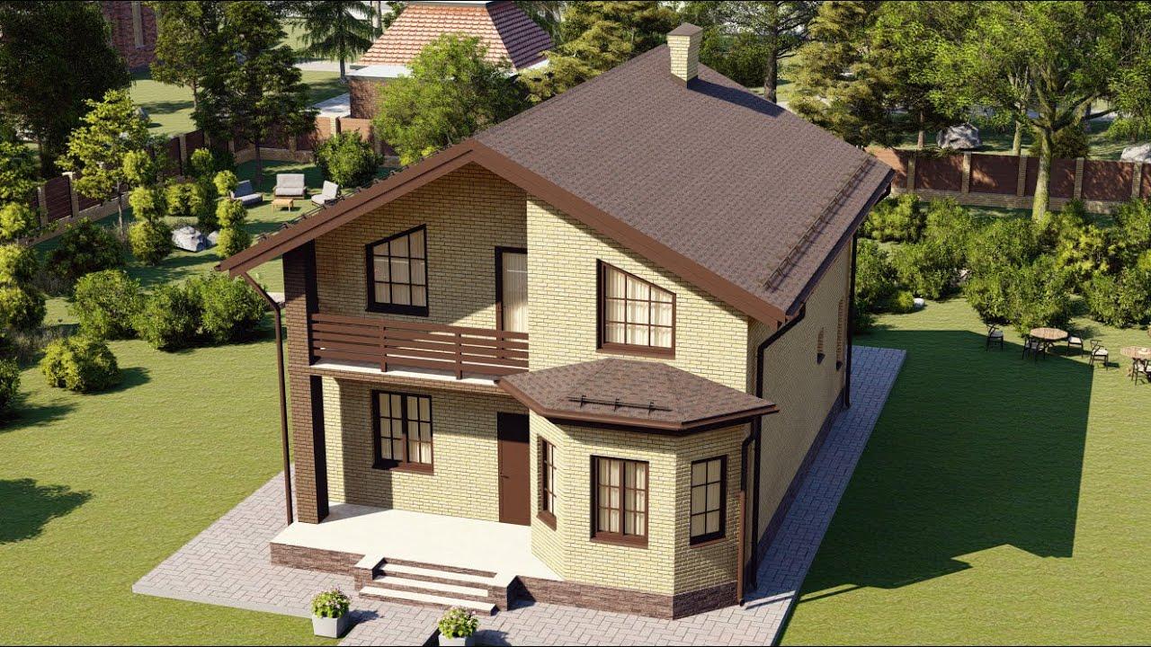 Проект мансардного дома из газобетона с балконом и эркером 150 кв м