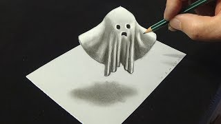👻Drawing Levitating Ghost - 3D Trick Art with Charcoal - 3D Art Drawing - VamosART