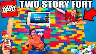 WORLDS BIGGEST 2 Story LEGO FORT! (24 Hour Challenge)