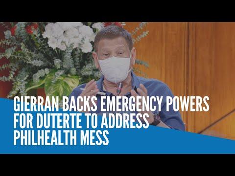 [Inquirer]  Gierran backs emergency powers for Duterte to address PhilHealth mess