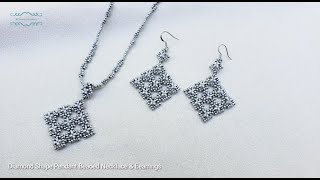 Diamond Shape Pendant Beaded Necklace & Earrings. Beads Jewelry Making. Beading Tutorials. Handmade