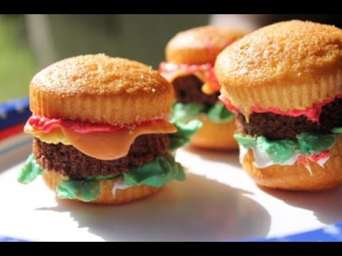 Cheeseburger Cupcakes : How to make and decorate cupcakes – I Heart Recipes