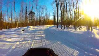 preview picture of video 'Snowmobile trail C4 into Speculator at sunet'