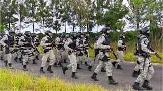 Policiais passam por mais uma etapa de atualização em como agir em situações de crise e fazem treinos com armas