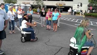 Jimmy Buffett tailgating, 6/26/12, Parking lot cooler girls warming up