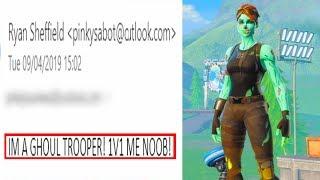 Toxic GHOUL TROOPER emailed me asking to 1v1 in Fortnite... (insane 1v1)