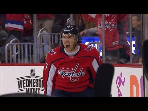 T.J. Oshie corrals Carlson s saucer feed to roof late go-ahead goal.  video youtube 2 months ago d1b27d430cbf