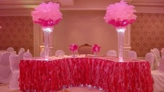 Victoria's Secret Themed Sweetheart Table Linens in Hot Pink & Pink