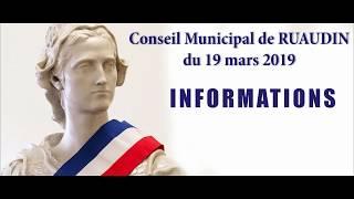 Conseil Municipal de Ruaudin du 19 mars 2019 en vidéo
