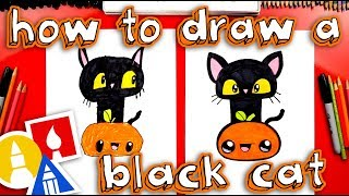 How To Draw A Black Cat And Pumpkin For Halloween