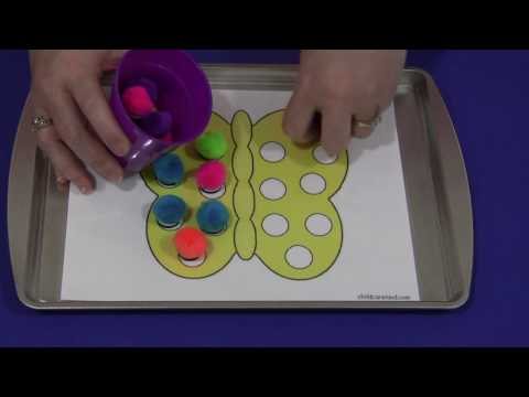 Screenshot of video: Pom Pom hand /eye coordination activity