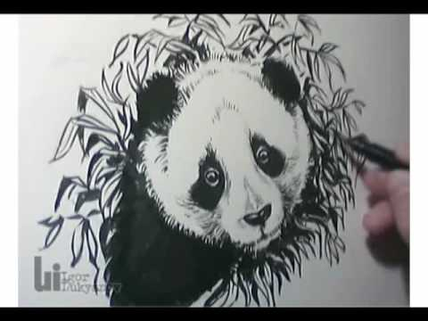 Cute Panda Bear - Created by Igor Lukyanov using Pentel pocket brush pen