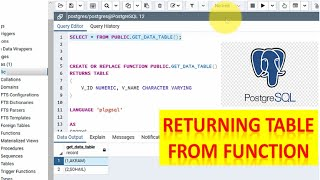 How To Return A Table From A Function In PostgreSQL    PostgreSQL Tips & Tricks 2020 Knowledge 360