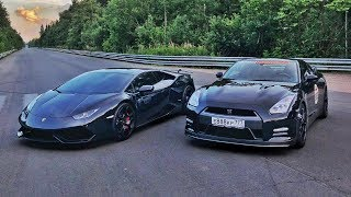 950 л.с. Nissan GT-R vs 780 л.с. Turbo Lamborghini. StuntChamp