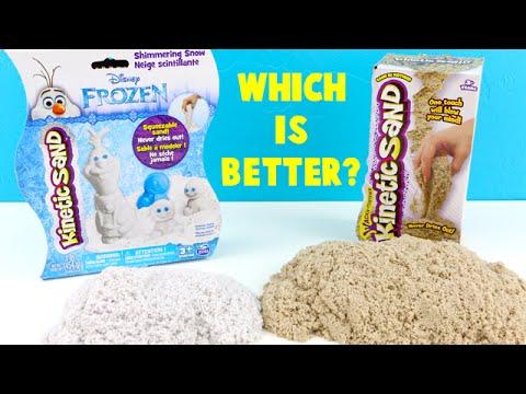 NEW Frozen Kinetic Shimmering Snow Sand VS. Original Kinetic Sand