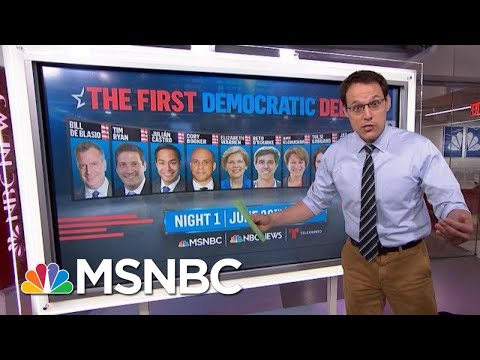 Democratic Debate: Steve Kornacki's Guide To Where Candidates Are Placed | Velshi & Ruhle | MSNBC