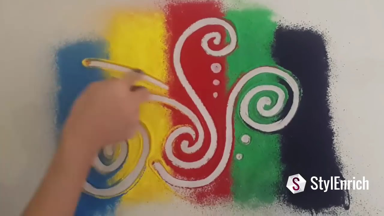 easy diwali rangoli design video for beginners