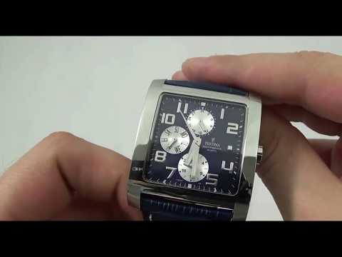 Festina Herrenuhr F16235 4 Multifunction eckige Business Uhr aus Edelstahl und Leder