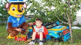 Гонщик Щенячий патруль РАЗБИЛ МАШИНУ Развлечения для детей Paw Patrol Little driver Видео для детей