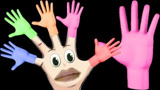 The finger family song halloween Hand painting videos for kids learn colors balloons for children