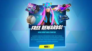 CLAIM 5 NEW FREE REWARDS NOW! LLAMA RAMA CHALLENGES (Fortnite Battle Royale)