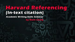 Harvard Referencing (In-text citation)