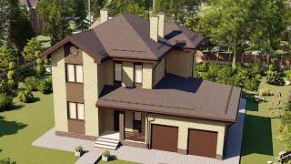 Проект дома 228-D, Площадь дома: 228 м2, Размер дома:  16x13,4 м