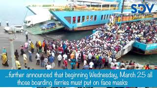Persons showing COVID-19 symptoms banned from using ferries in Mombasa