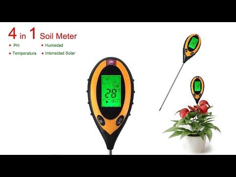 Medidor de PH 4 en 1 Humedad, Intensidad Solar y Temperatura