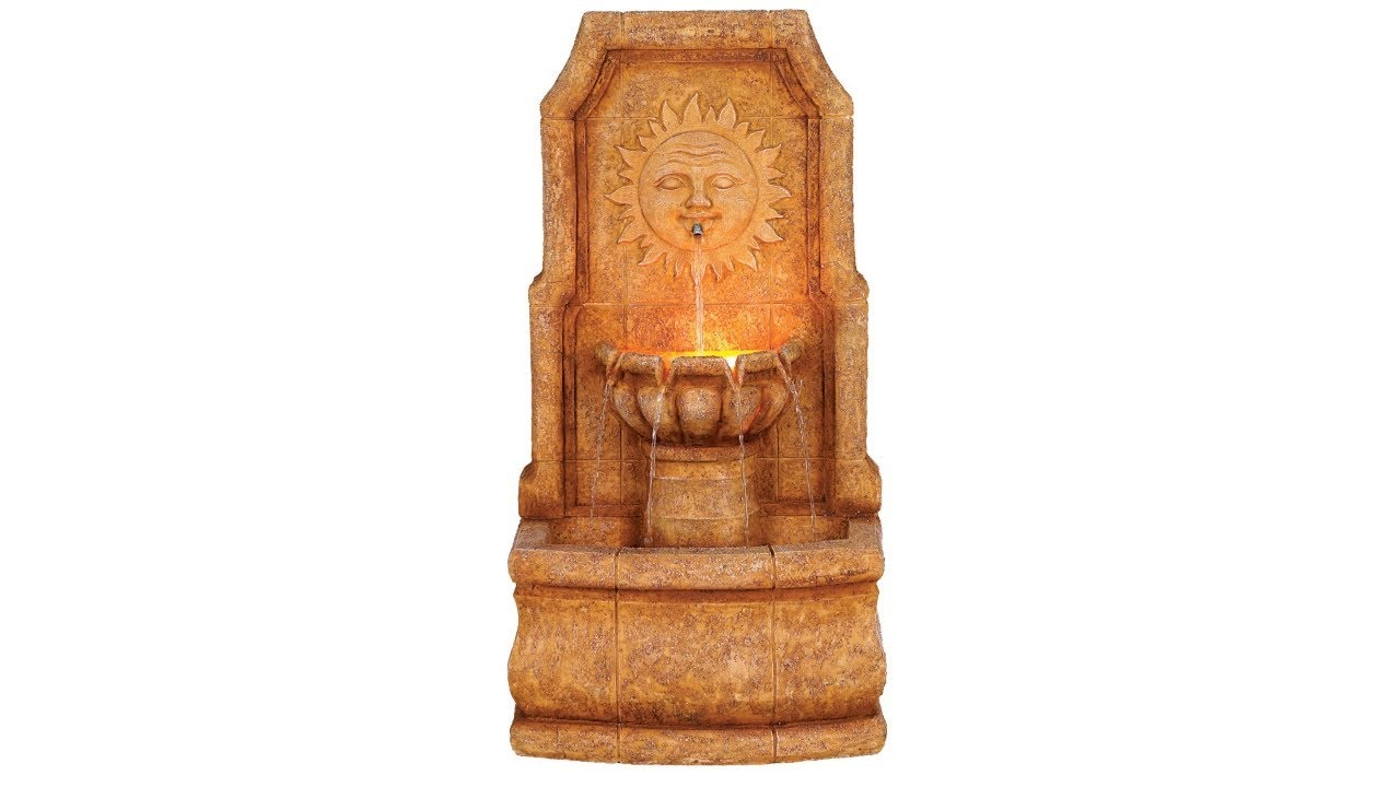 "Sun Villa Faux Stone 37""H Outdoor Fountain with LED Lights"