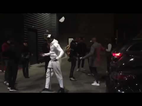 Pogba shows off dance move with fans!!