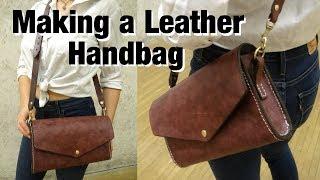 DIY Denim-Lined Leather Handbag With Basic Tools   Leathercraft